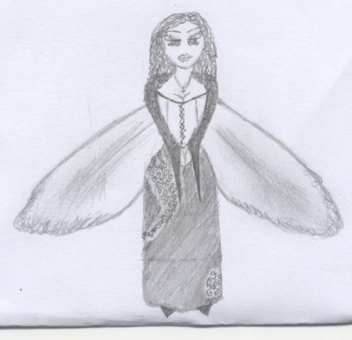 Ángel con alas de pájaro